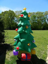 outdoor green Christmas tree with gift boxesadvertising inflatable archway   for decoration  holiday events