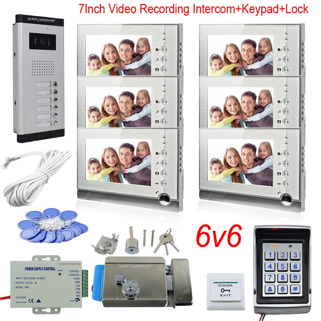 Max 32GB Recording Video Intercom System Door Bell With Camera For 6 Apartments Doorphone With Rfid Password Keypad System