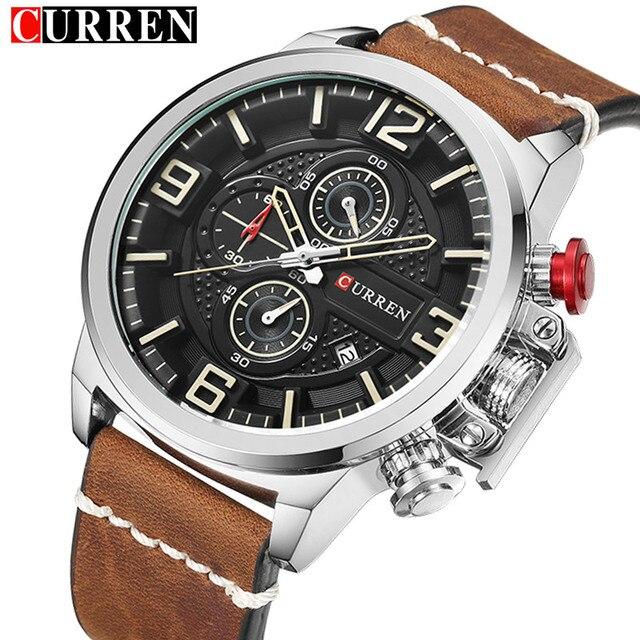 426065fa19752 CURREN chronographe montre décontractée pour homme de luxe marque Quartz  militaire Sport montre en cuir véritable