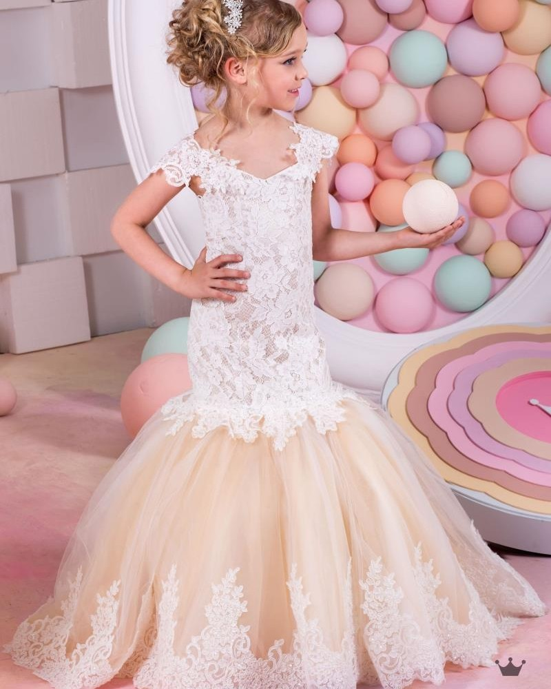 fbb951f44a2 vestido longo 2016 Flower Girl Dress White Ivory Tulle Lace Mermaid Flower  Girl Dress kids prom dresses short sleeves-in Flower Girl Dresses from  Weddings ...