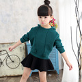 Autumn Girls Jumper and Skirt Set Kids Hooded Sweater +  Black Mini Skirt 2PCS Fashion Child Long Sleeve Tops and Tutu Suit