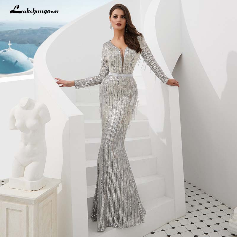 Luxury Mermaid Sequined Evening Dresses V Neck Silver Long Sleeves Evening Gown robe de soiree
