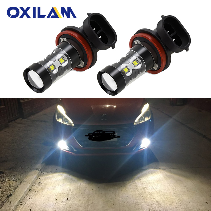 2Pcs H10 LED Lamp Car Fog Lights For Peugeot 407 206 207 307 308 2008 3008 H8 H11 Led Bulb PSX24W H3 HB4 Auto Driving Lamp DRL