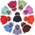 2016 muchachas de los bebés calientes dulces de colores de invierno de manga larga chaqueta de abrigo niños de algodón acolchado ropa de los cabritos outwear