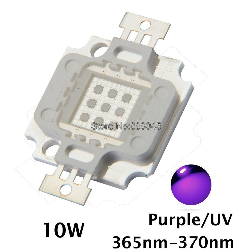 10W Epileds 42mil High Power LED UV Ultra Violet Purple Color Light Chip 365nm-370NM,380nm-385nm,395nm-400nm,420nm-425nm DIY 10w 12w ultra violet uv 365nm 380nm 395nm high power led emitting diode on 20mm cooper star pcb