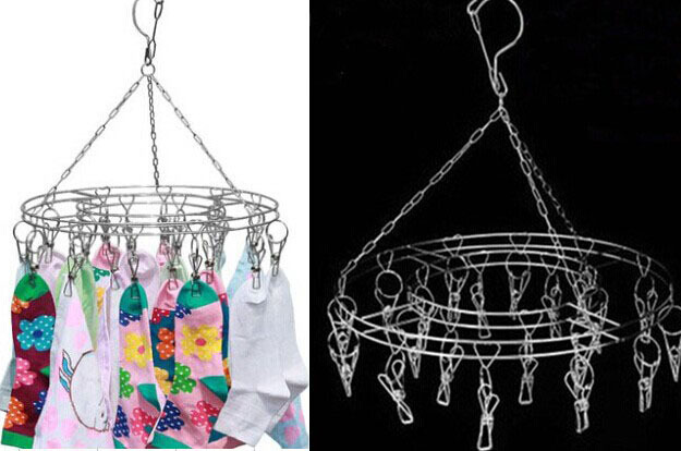 Hotel Stainless Steel Round Clothes Socks Ties Underware Holder Hanger Clip Rack