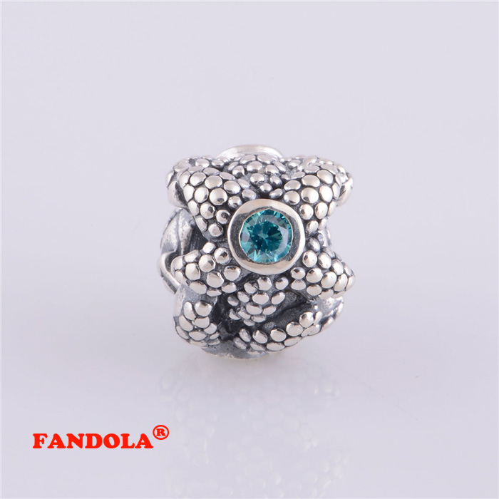 Fits Pandora Charms Bracelet Sparkling Starfish Screw Thread Charm Beads Authentic 925 Sterling Silver Jewelry LW250
