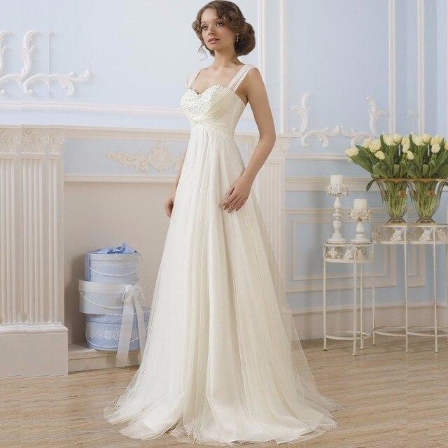 Eenvoudige Sweetheart Een Lijn Kanten Lijfje Tulle Ivoor Bruidsjurken Robe De Mariee Vintage Witte Bruid Jurk Vestidos De Novia