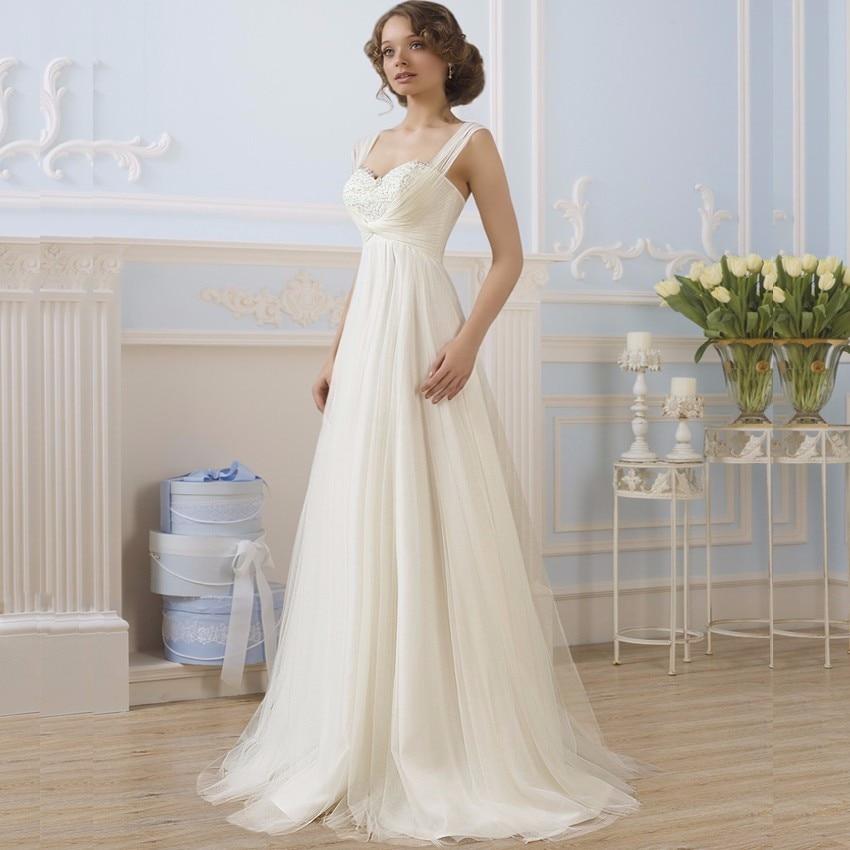 Simple Sweetheart A Line Lace Bodice Tulle Ivory Wedding Gowns Robe De Mariee Vintage White Bride Dress Vestidos de Novia