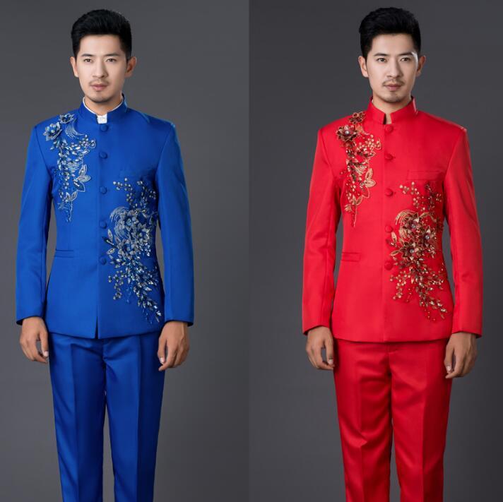 Пиджак мужчины торжественное платье самые последние модели брюк для костюма китайский туника костюм Мужчины костюм Брак Свадебные костюмы...