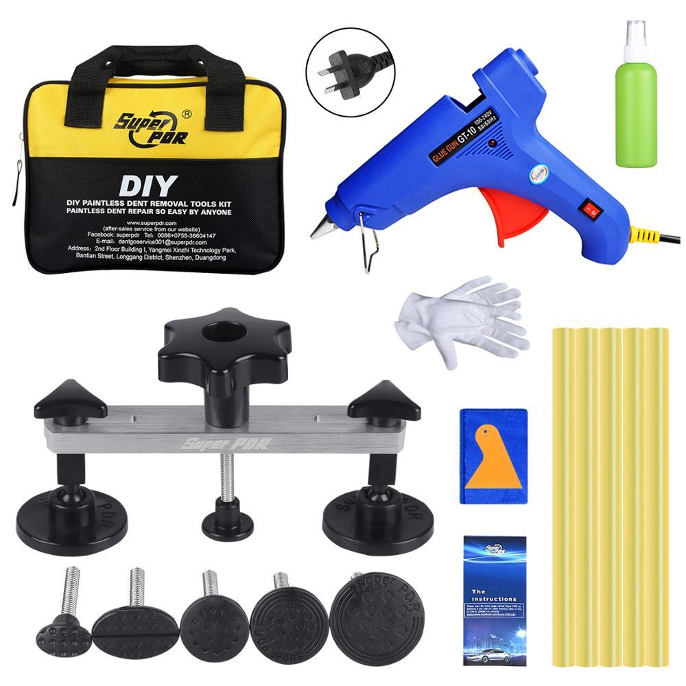 Super PDR Tools Paintless Dent Repair Tool Auto Dent Pulling Bridge Hot Adhesive Glue Stick For Glue Gun AU Plug & Tools Bag Set цены