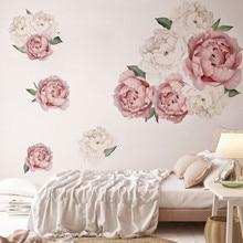 1 шт., 3D наклейки на стену с пионами, розы, пионы для гостиной, спальни, 40*60 см, наклейки для комнаты, Настенные обои для украшения дома