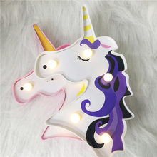 Unicorn Led Night Lights 3D LED Table Lamp Novelty Animal Marquee Sign Letter Home Decor Lamp Luminaria For Baby Kids Gift lumiparty led reindeer night light cordless night table lamp christmas wall marquee sign with 8 led lights for christmas