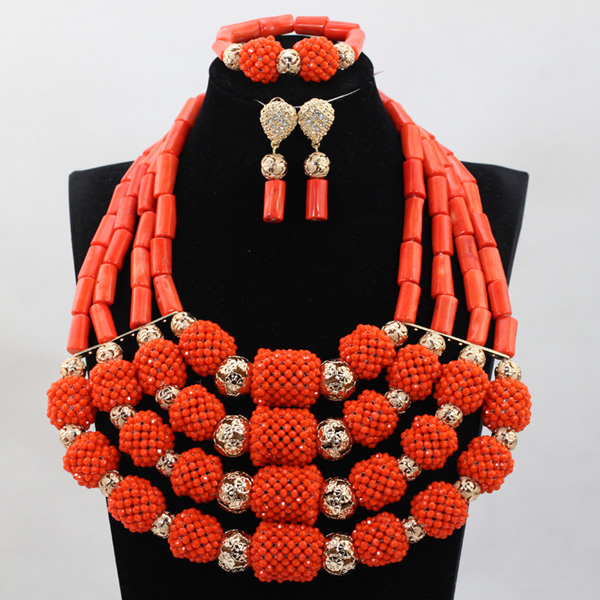 HTB1BfBceL6H8KJjSspmq6z2WXXam Marvelous Nigerian Traditional Wedding Coral Beads Jewelry Set African Indian Bridal Beads Necklace Set Free Shipping CNR659