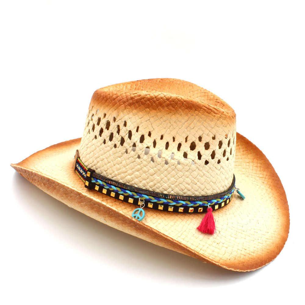 100% Handgemaakte Weave Stro Vrouwen Western Cowboy Hoed Met Kwastje Ribbion Lady Strand Zon Sombrero Cap Mesh Cowgirl Hoed Maat 58 cm