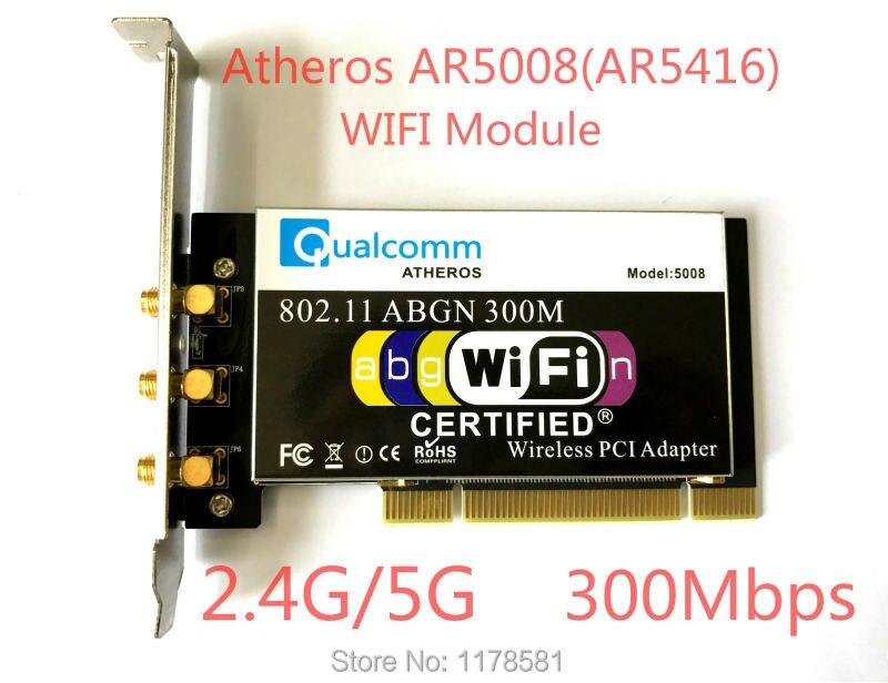 Atheros AR5008 AR5416 Double Bande 802.11a/b/g/n CARTE WIFI PCI Module 300 Mbps Carte Sans Fil pour Ordinateur De Bureau + 3 pcs Antenne