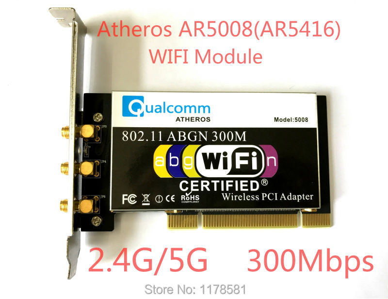 Atheros ar5008 ar5416 banda dual 802.11a/B/g/n tarjeta Wifi módulo PCI 300 Mbps tarjeta inalámbrica para la mesa + 3 unids Antenas