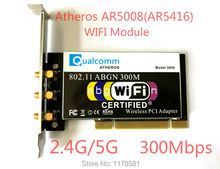Atheros AR5008 AR5416 Двухдиапазонный 802.11a/b/g/n WI-FI КАРТА PCI Модуль 300 Мбит Беспроводная Карта для Рабочего Стола 3 Шт. Антенны