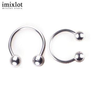 Imixlot Body Piercing Jewelry Stainless Steel Horseshoe Piercing Nose Septum Lip Ring Circular Ear Cartilage Tragus Ring 100pcs body jewelry