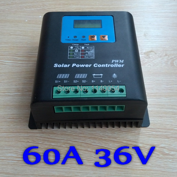 60A 36V Solar Controller 36V panel Battery Charge Controller Solar Home system indoor use LCD 60 Amps Solar Charge Controller