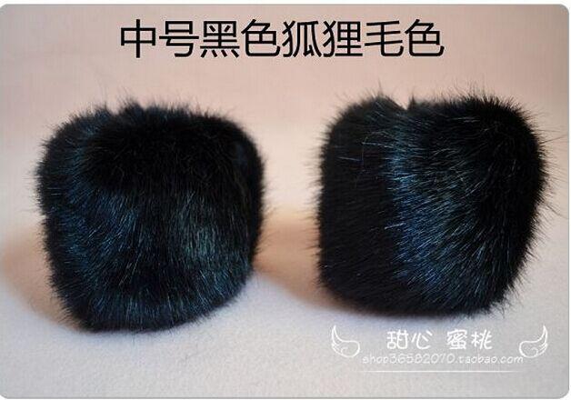 Большой искусственный Лисий Мех животных Прихватки для мангала манжеты плюс Размеры лиса Мех животных кольцо руки Мех животных запястье белый, черный, серый, черный с белым - Цвет: Черный