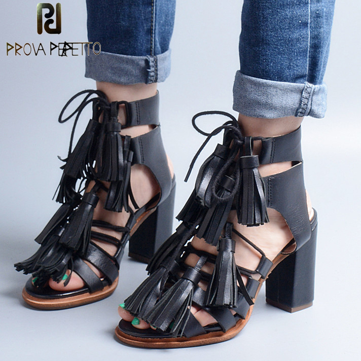 Prova Perfetto New Arrival Summer Lace up Woman Sandal Square High Heel Black Color Cross-tied With Tassels Fashion Sandals Shoe sandals new summer 2017 basic shoes woman open back strap sandal square heel fashion beige black 35 40 free shipping bassiriana
