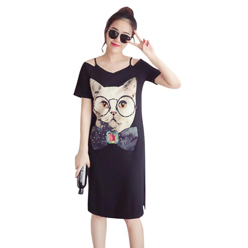 Korean Summer Sexy Spaghetti Strap Dress Cat Print Women Cute Cat Short Sleeve Fashion Straight Casual Off Shoulder Clothes