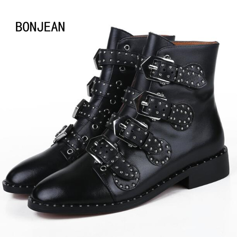 Women Ankle Rivet Boots Genuine Leather Martin Motorcycle Boots Studded Biker Buckle Shoes Women Zapatos Mujer Sapato Feminino enmayer new motorcycle boots for women sexy rivet shoes fashion martin boots genuine leather boots