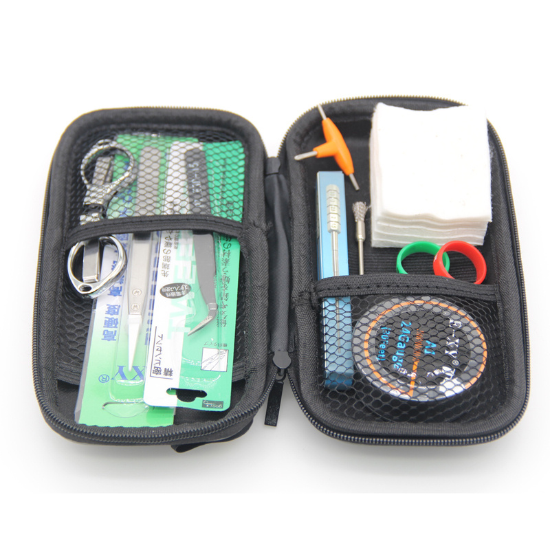 E-XY Ecig DIY tool bag Heating wire coil jig Tweezers Stainless steel brush screwdriver scissors A1 for vape rebuildable coil e xy ss316l wire 10m roll ecigarette vaporizer diy coil wire stainless steel heating wire 30awg 28awg 26awg 24awg 100