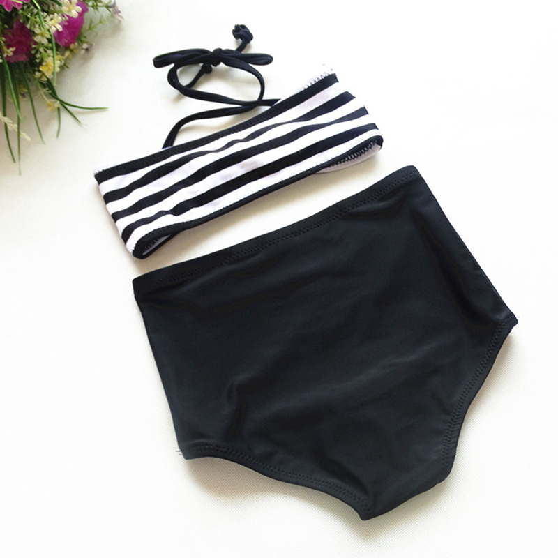 2017 Baby Infant Girls Kids Tankini Bikini Suit Button Striped Bottoms Beachwear Swimsuit Swimwear Girl 39 s Bathing Suit GBK011 in Children 39 s Two Piece Suits from Sports amp Entertainment