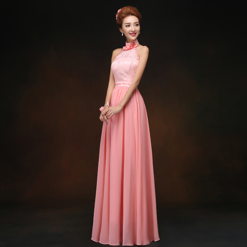 Memoria dulce elegante largo Halter vestido de dama azul Rosa gasa ...