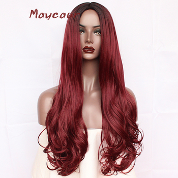 Ломбер бордовый Тело Волна синтетический парик длинные волнистые натуральных волос парики для Для женщин нет кружева парик