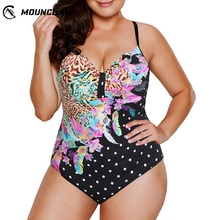 Women Plus Size Swimwear One Piece Swimsuit Flower Dot Pattern Printing Bikini Set tropical flower plus size bikini set
