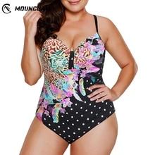 Women Plus Size Swimwear One Piece Swimsuit Flower Dot Pattern Printing Bikini Set