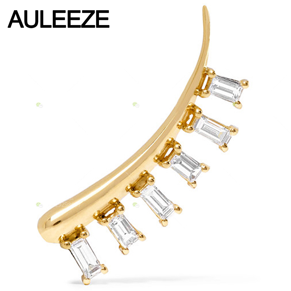 Real 18k Yellow Gold Diamond Earring 115cttw Emerald Cut Natural Diamond  Single Stud Earring For Women Party Diamond Jewelry