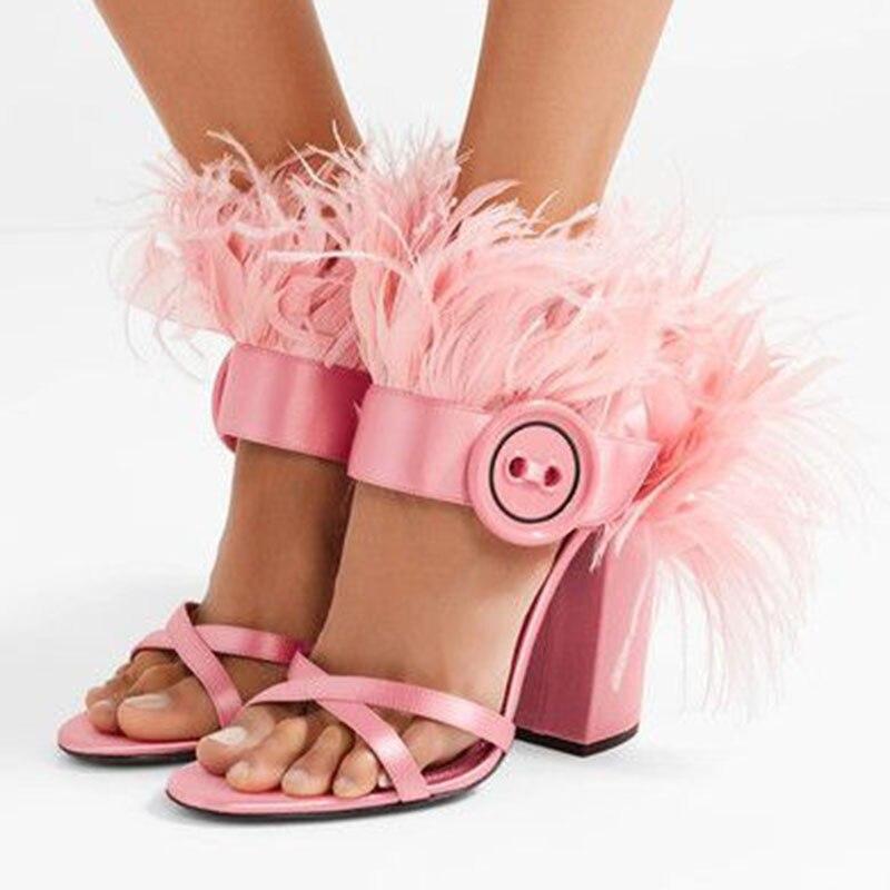 Botón Mostrar Con Pista Fiesta Sandalias Flecos Peep Banquete Club Hebilla Mujer Sexy Zapatos De Pluma As Toe Tacón as 19ss Pic Pic Alto pxawx