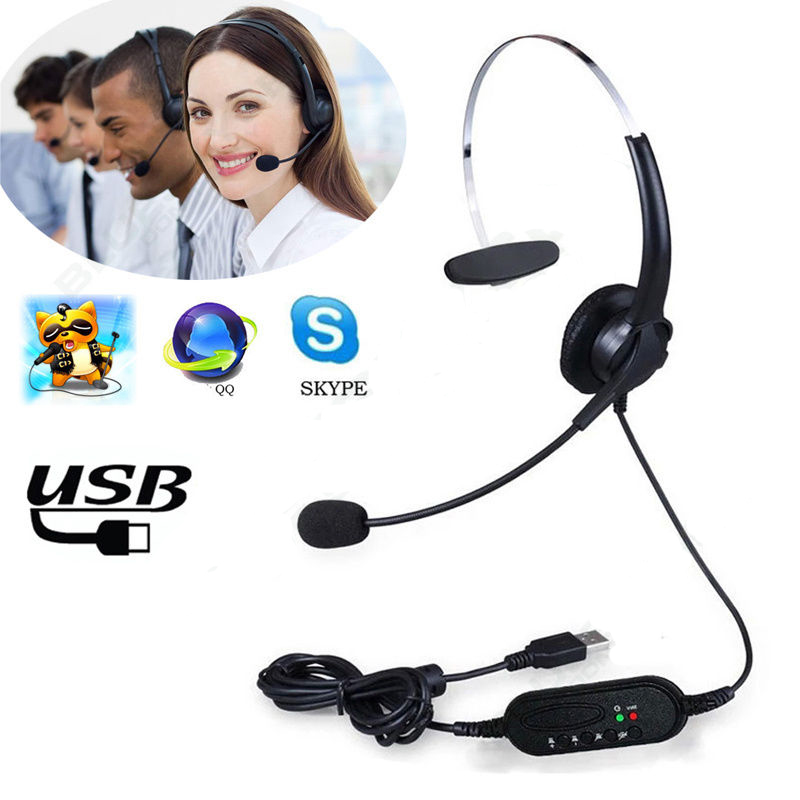 5pcs USB Call Center Stereo Headset with MIC Microphone for Computer Desktop Laptop PC USB Connection SKYPE earphone headphone