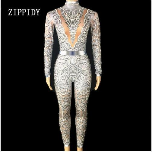 Newest Silver Crystals Gray Jumpsuit Women's  Birthday Celebrate outfit Stretch Sexy Bodysuit Stage Performance Dance Rompers