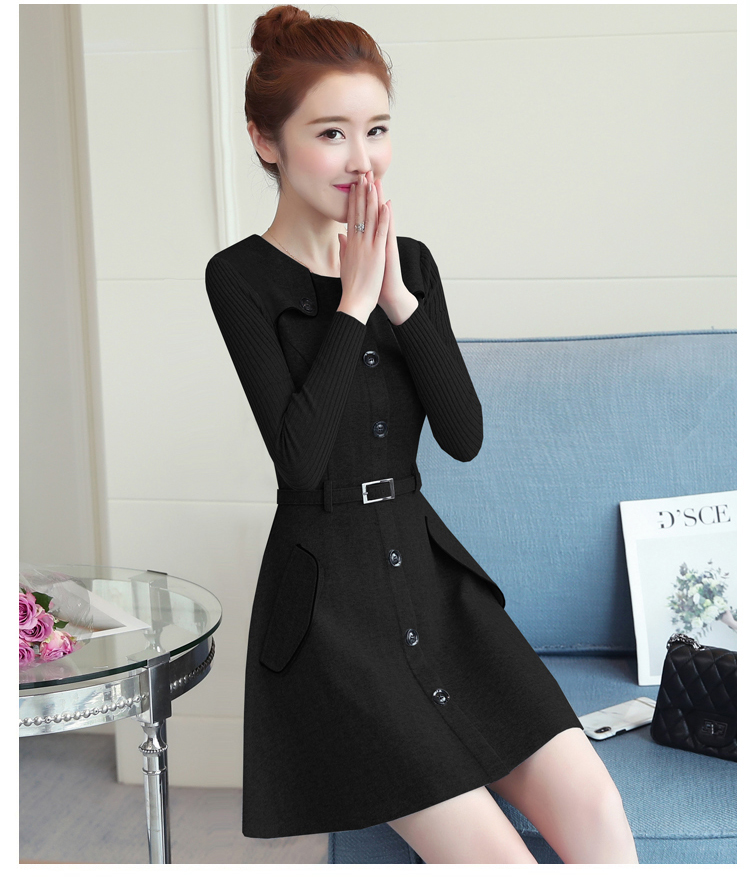 winter new round collar single-breasted cloth dress belt buttons A word women dresses Korean fashion outfit lady vogue vestido 35