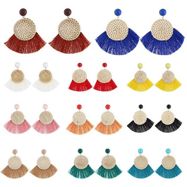 ffa62b5ed 2018 New Fashion Bohemia Woven Rattan Hoop Tassel Earrings Ethnic Vintage  DIY Statement Fan Fringe Drop Dangle Earring For Women