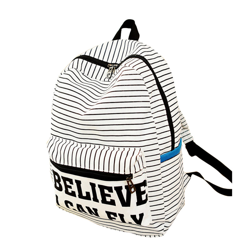 Popular Zipped Student School Bags Striped Letter Printed Casual Shoulder Bag Fashion Men And Women Canvas Travel Backpack