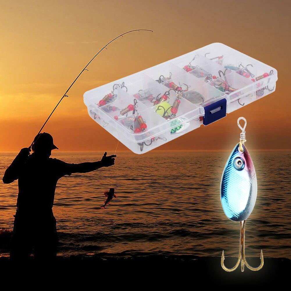 30 teile/satz Künstliche Trout Löffel Fischerei Lockt Spinner Köder Box Bass Tackles Set Assorted Karpfen Angeln Blatt Locken Köder peche