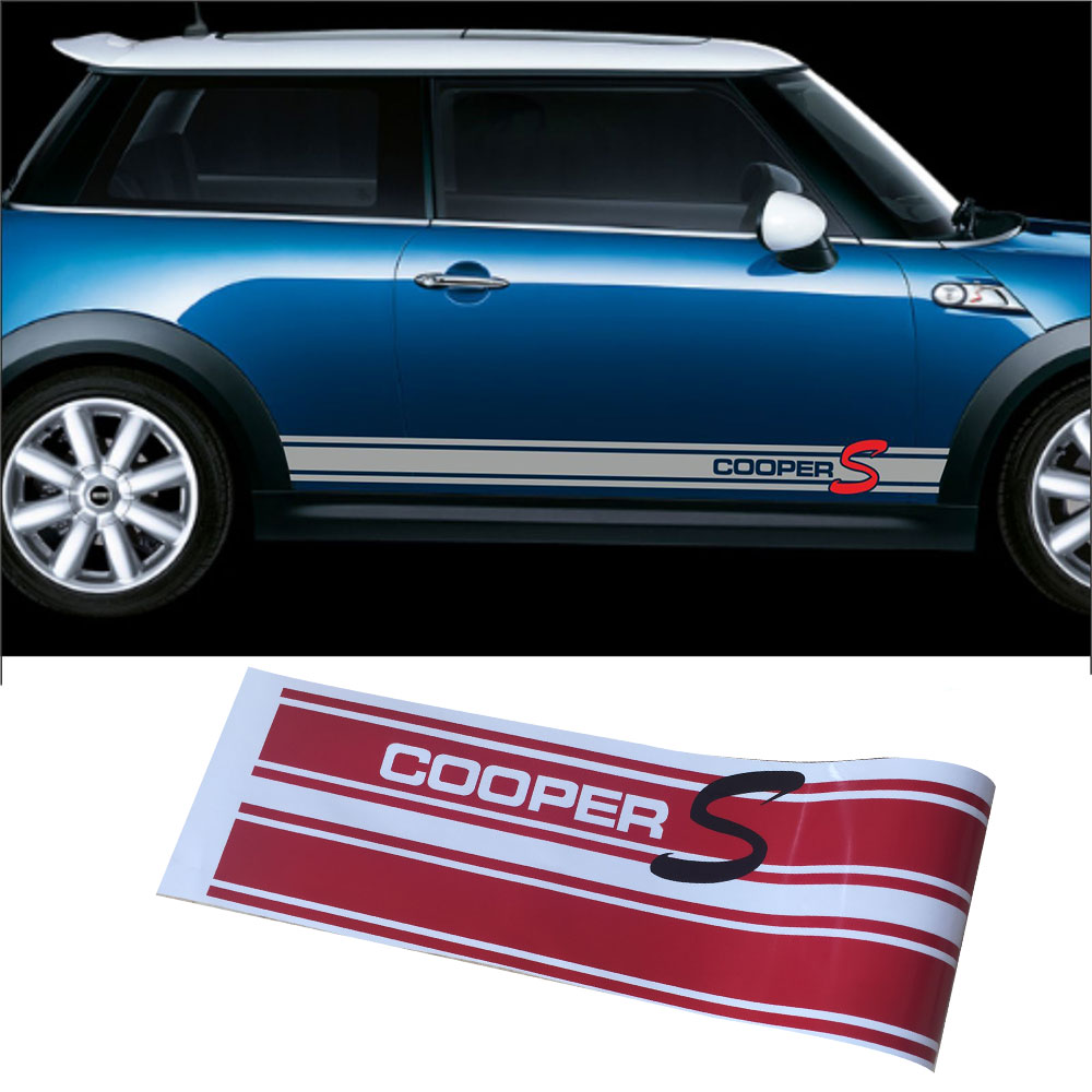 Pair of Side Skirt Graphics Decal Stickers for Cooper S Style Racing Stripes Garland for Mini