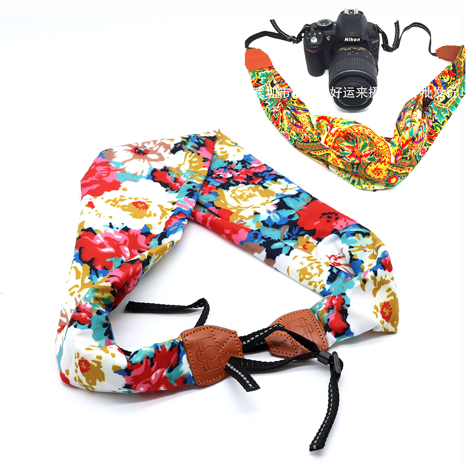 Women Nylon National Shawls and Scarves Flower Style Neck Shoulder Strap for DSLR Camera Female Scarf Soft Oriental Bohemian