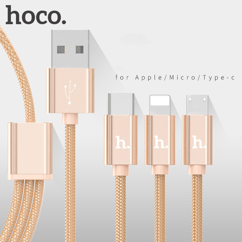 HOCO Metal Charging Data <font><b>Cable</b></font> Nylon Wire Charger for Apple Plug iPhone iPad Micro USB Type C for Samsung Xiaomi 3in1 Cord 2in1 image