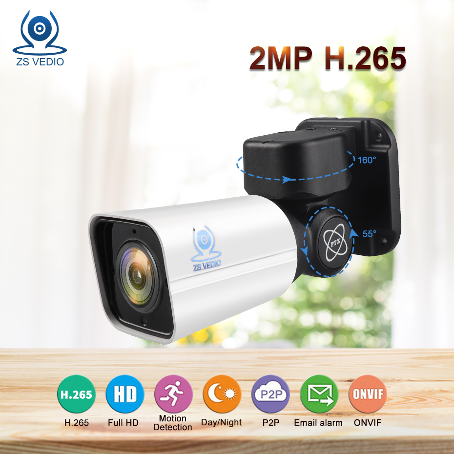 ZSVEDIO Surveillance cameras IP Camera 2MP Mini PTZ H 265 Cloud Storage 4X Optical Zoom P2P