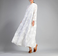 OL 2017 Autumn Spring New High End Soft Wire Linen Jacquard Lace Maxi Dress Fashion