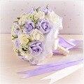 2017 Hermosa Púrpura de La Boda Ramos de Novia Flores de La Boda Ramo Todos Hechos A Mano Perlas Artificiales Flor de Rose Bouquet