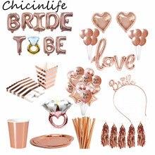 Chicinlife rosa ouro noiva para ser carta balões tiara coroa bandana anel de diamante balão de despedida de solteira galinha suprimentos de festa