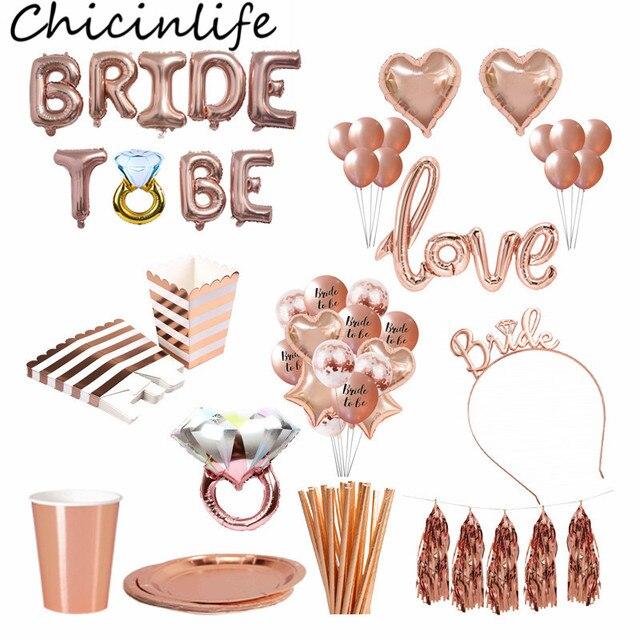 Chicinlife עלה זהב כלה להיות מכתב רדיד בלוני נזר כתר סרט יהלומי טבעת בלון רווקות אספקת מסיבת תרנגולת